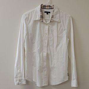 Burberry white button down shirt blouse